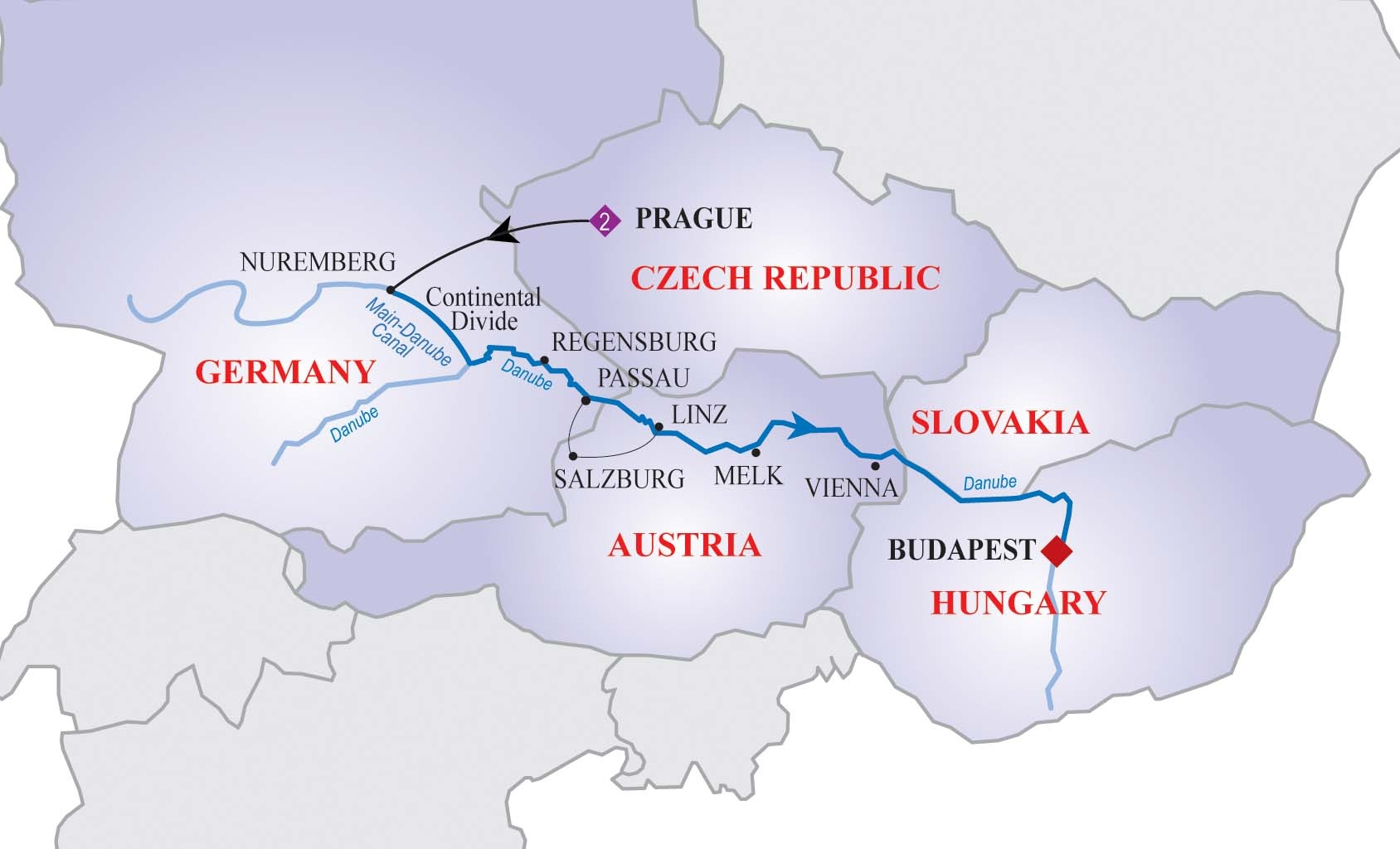 Danube River Cruise Map Danube River Cruise Map